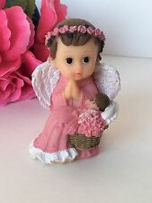 1-Baby Shower Baptism Angel Girl Cake Topper Decorations Pastel Nina Table Pink