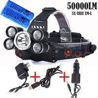 50000LM 5Head XM-L T6 LED 18650 Headlamp Headlight+3x Chargers+2x Battery
