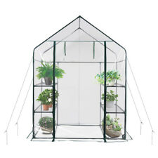 More details for walk in greenhouse pvc plastic garden grow green house with 6 shelves uk