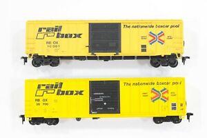 HO Athearn / Roundhouse Railbox 50ft Railbox Type Rib-Side Slide Door Box Cars