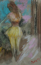 Original, Unique, Dancer pastel drawing, signed, Edgar Degas, w COA & DOCS.