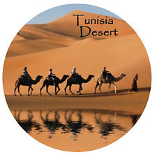 TUNISIA (SIGHTS & PLACES) - ROUND SOUVENIR FRIDGE MAGNET - BRAND NEW / GIFT