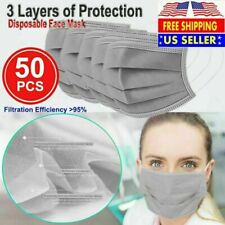50 PCS Face Mask Non Medical Surgical Disposable 3-Ply Ear loop Mouth Cover-Gray