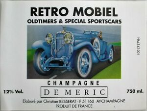 Champagne 'De Meric' Label w/Antique Sports Car / Automobile - French
