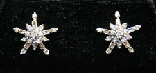 Pair 14K YG 16 RBC & 5 Baguette Diamond Cluster Snowflake / Star Earrings 2.3 gr