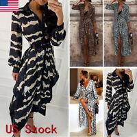 Womens Long Sleeve Leopard Split Lady Early Autumn Holiday Long Maxi Dress US