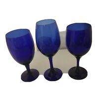 "2 Vintage Cobalt Blue Water/Wine Glasses 7 1/8"" Goblets & 1 - 8"" Wine Glass"