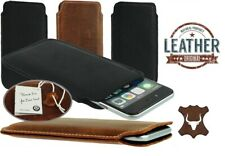 SLIM PREMIUM GENUINE LEATHER POCKET CASE COVER SLEEVE POUCH FOR MOBILE PHONES