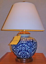 RALPH LAUREN BLUE & WHITE PORCELAIN TABLE LAMP WOODEN BASE LINEN SHADE NEW/ TAGS