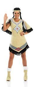 Womens Native American Costume Ladies Indian Girl Western Fancy Dress S - XXL