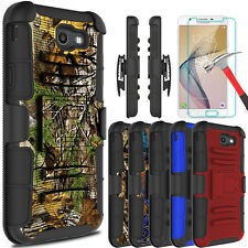 For Samsung Galaxy J7 V/Prime/Sky Pro Case With Kickstand Clip/Screen Protector