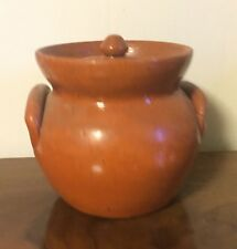 Vintage Jugtown Redware Crock & Cover with Applied Handles Jug Town Urn Pottery