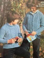 "FK35 - Knitting Pattern - Child's ARAN Cardigan & Jumper - 22-32"" sizes"