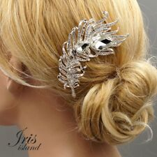Bridal Hair Comb Clear Crystal Headpiece Wedding Accessories 5358 Feather Silver