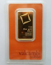 1 Ounce Valcambi Suisse Fine Gold Bar Au 999,9 Certified AA475577 In Assay