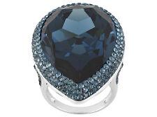 Blue Swarovski Crystal Rhodium Plated Sterling Silver Ring