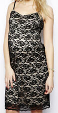 Maternity Cami Midi Lace Dress 12 UK BNWT ~ Black/Nude ~ Special occasion