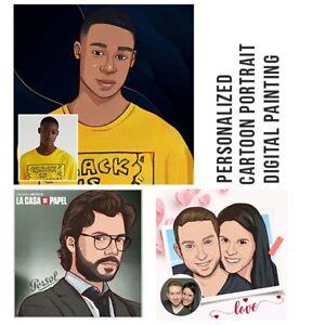 Cartoon Portrait Custom Digital Art Drawing Personalized Couple Portrait