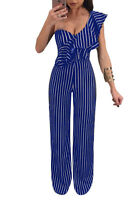 Sexy Women One Shoulder Ruffled Stripe Bodycon Long Jumpsuit Rompers Clubwear