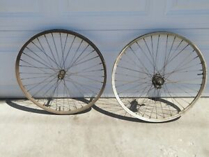 "Vintage 26"" Balloon Tire Bicycle Wheels Rims Prewar Elgin"