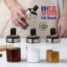 Spice Jar+Spoon Condiment Storage Seasoning Bottle Container Kitchen Food Box US