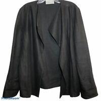 Dusan Womens Long Sleeve Open Front Blazer Jacket Black Linen Size M Langenlook