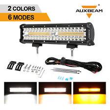 AUXBEAM 12inch 300W LED Work Light Bar Spot Beam Amber White Strobe Driving Lamp