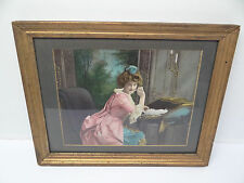 Antique Old Victorian Pink Dress Colored Wood Gold Framed Print Hanging Wall Art