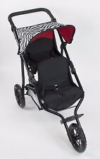 "Deluxe Double Jogger Doll Twin Stroller Adjustable Handle For 18"" Doll"