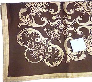 Deluxe Chocolate Classic Provencal Design 60 Inch Square Tablecloth Topper