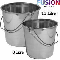 Stainless Steel Bucket Water Champagne Wine Beer Ice Cooler Garden 8 & 11 Litre