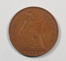 1935 Great Britain 1 One Penny Bronze World Coin King George Trident UK England