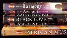 HARMONY Black Love African Musk 60 HEM Incense Sticks 3 Scent Sampler Gift Set
