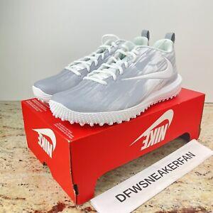 Nike Vapor Varsity Low Turf LAX Lacrosse Shoes White/Wolf Grey Men's 12