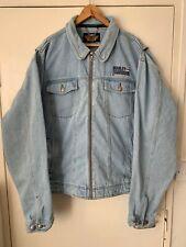 Vintage Harley Davidson Embroidered Full Zip Denim Jean Riding Jacket XL/XXL