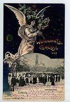 Weihnachts Grusse aus LEIPZIG Rare AK Johannaparkteich Antique 1901