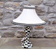 MacKenzie Childs Courtly Check Table Lamp w/ Shade - Hand Painted Enamel Metal