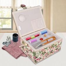Fabric Floral Printed Sewing Basket Storage Box DIY Craft Tools Organizer+Handle