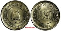 COLOMBIA 1881 2 1/2 Centavos 1 Year Type Mint Luster UNC KM# 179