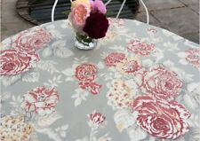 Oilcloth fabric, PVC coated, Shabby Chic floral fabric, Soft Grey, Per Meter