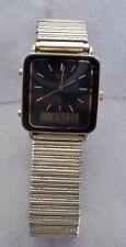 Vintage Seiko Digital Analog Dual Time Wristwatch H449-5030 Rare Alarm Gold