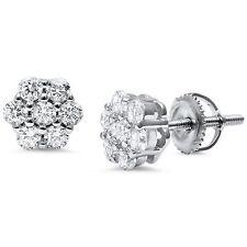 Trendy Round 7 Stone Flower CZ .925 Sterling Silver Earrings