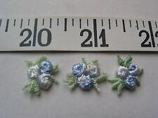 "7084 APPLIQUES Tri Flower Rose Bud Light Blue White 5/8"" 36 Pcs"