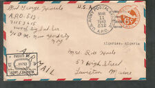 WWII censor cover Pvt George Houle 849th Sig Inf APO 512 Algiers to Lewiston ME