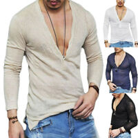 Summer Men's Slim Fit Shirts Deep V-Neck Long Sleeve Casual T-Shirt Tee Blouse