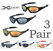 3 Pairs X-Loop Mens Sport Cycling Fishing Golfing Running Wrap Around Sunglasses