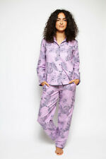 Ladies Womens Pink Grey Leopard Animal Print Pyjama Set - SIZE 20
