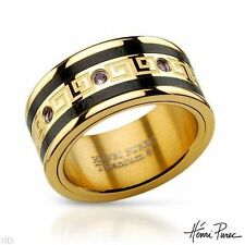 DESIGNER'S SIGNED NEW GENUINE MIX PINK SAPPHIRE GOLD BLACK TITANIUM RING SIZE 7