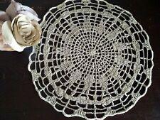 Beige crochet round doily, Linen doily, Table decor, Lace placemat