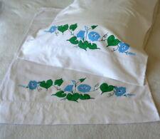 "Pair Vintage Morning Glories Pillowcases Tubing 21"" x 29"" Cotton Seamless Hemmed"